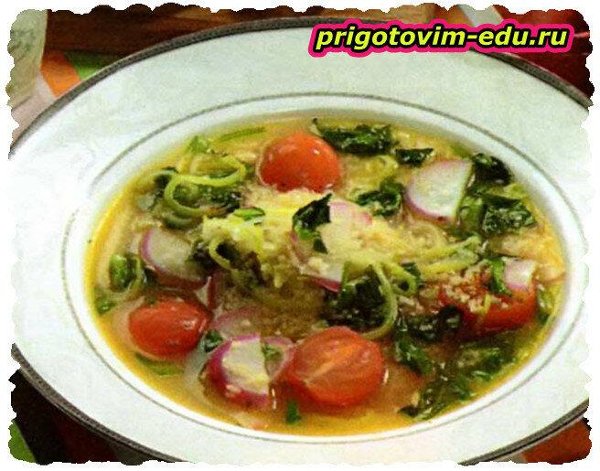 Суп с луком-пореем и кускусом