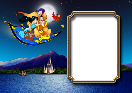 Фоторамка с летящими над озером на ковре-самолете принцессой Жасмин, Аладдином и обезьянкой