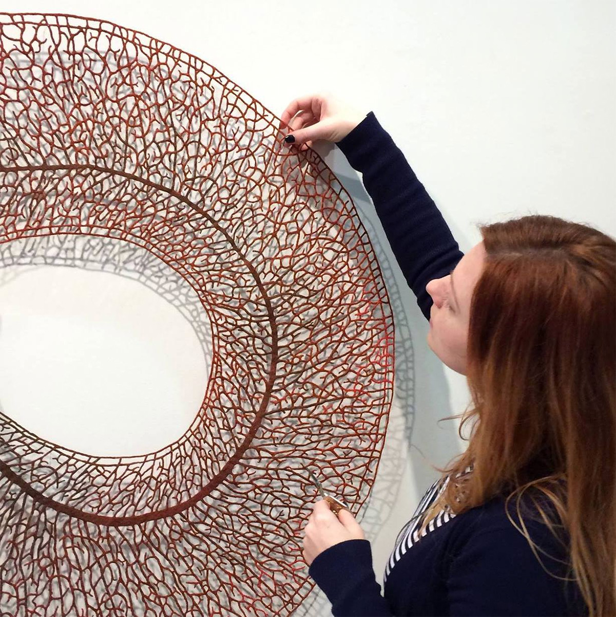 Australian artist Meredith Woolnough creates elaborate embroideries that mimic delicate forms of nat