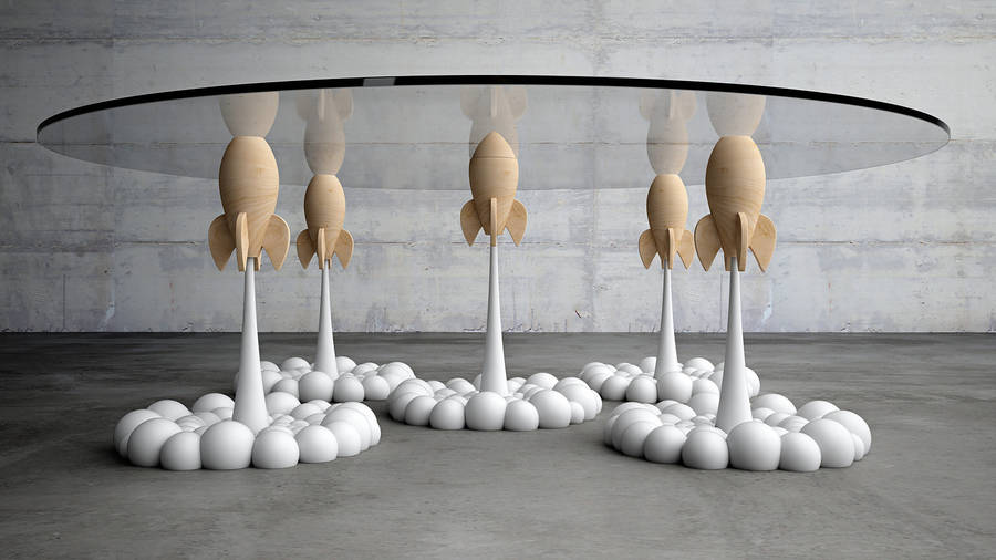 Beautiful Table with Rockets as Legs