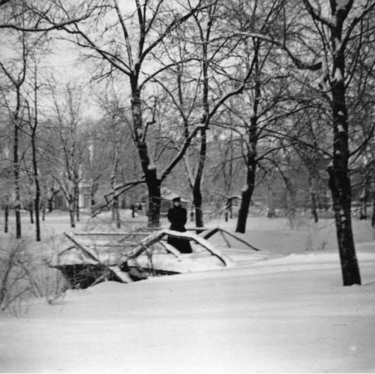 Екатерининский парк в Москве. Рая на мостике