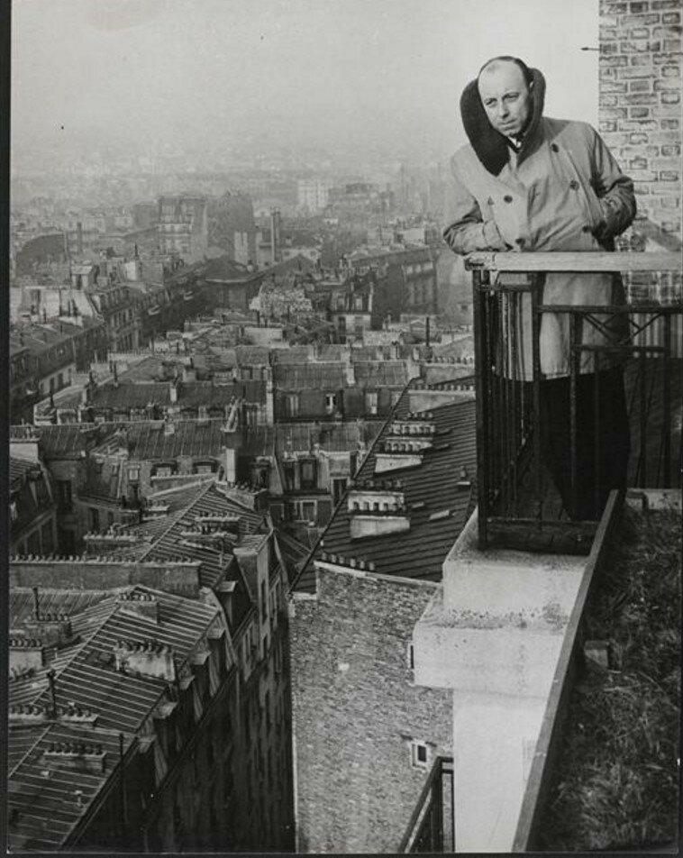 1950. Марсель Карне (кинорежиссер) у себя дома