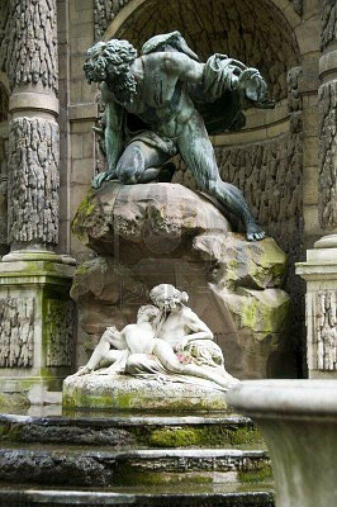 Polyphemus Surprising Acis and Galatea - Auguste Ottin 1866 - The Fontaine M_dicis, Jardin du Luxembourg, Paris - Tutt'Art@.jpg