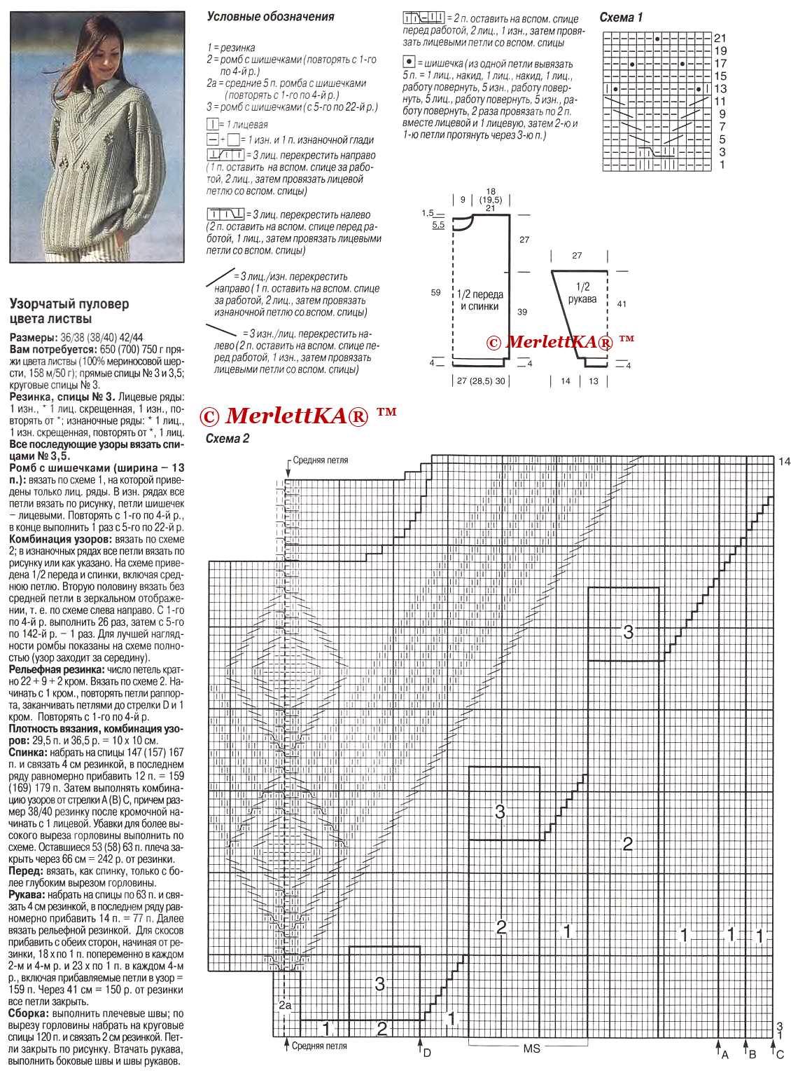 Женский свитер оверсайз спицами с описанием и схемами 2016