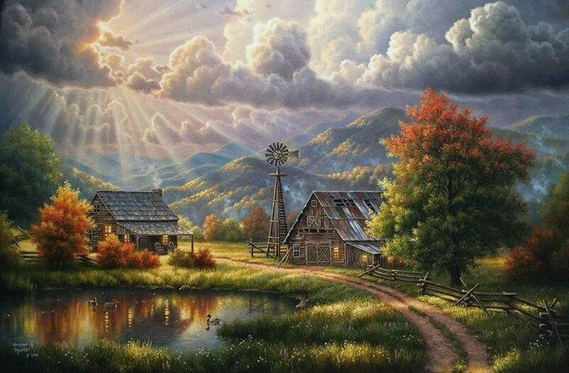 Осенние пейзажи американского художника Abrahamа Hunterа