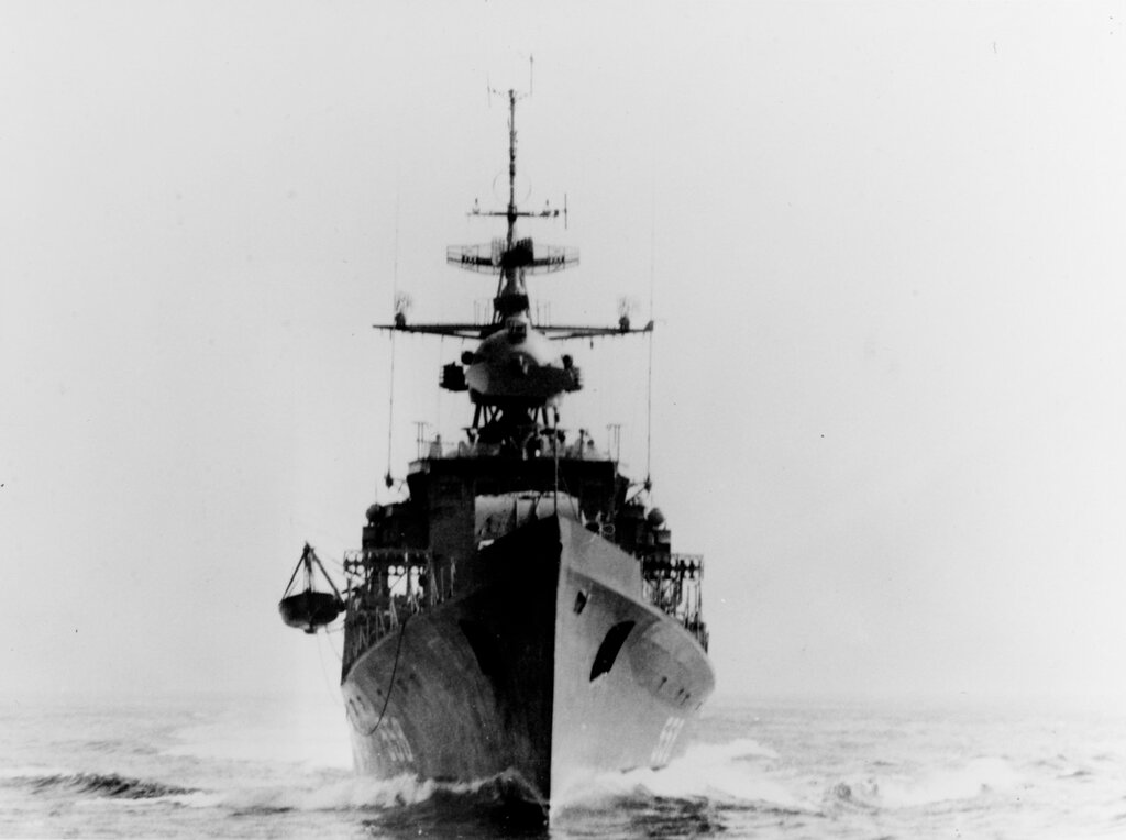 Bow view of a Soviet Riga class ocean escort, photographed during the 1960 in the Eastern Mediterranean area.