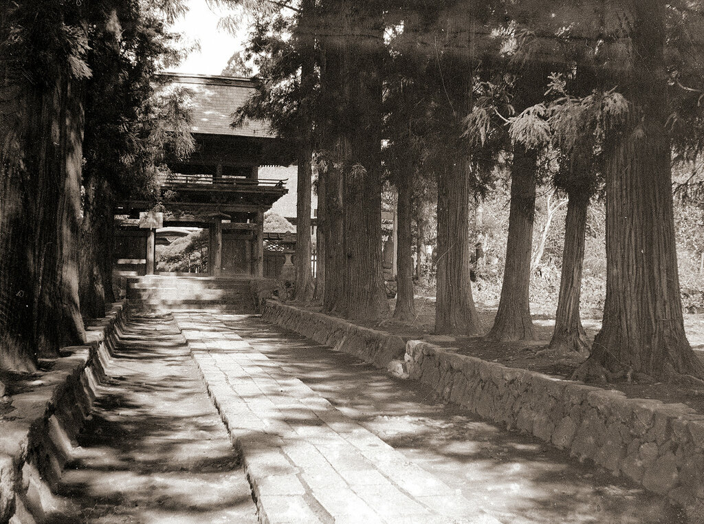 Japanese Shrine on Path With Trees, 1930s.