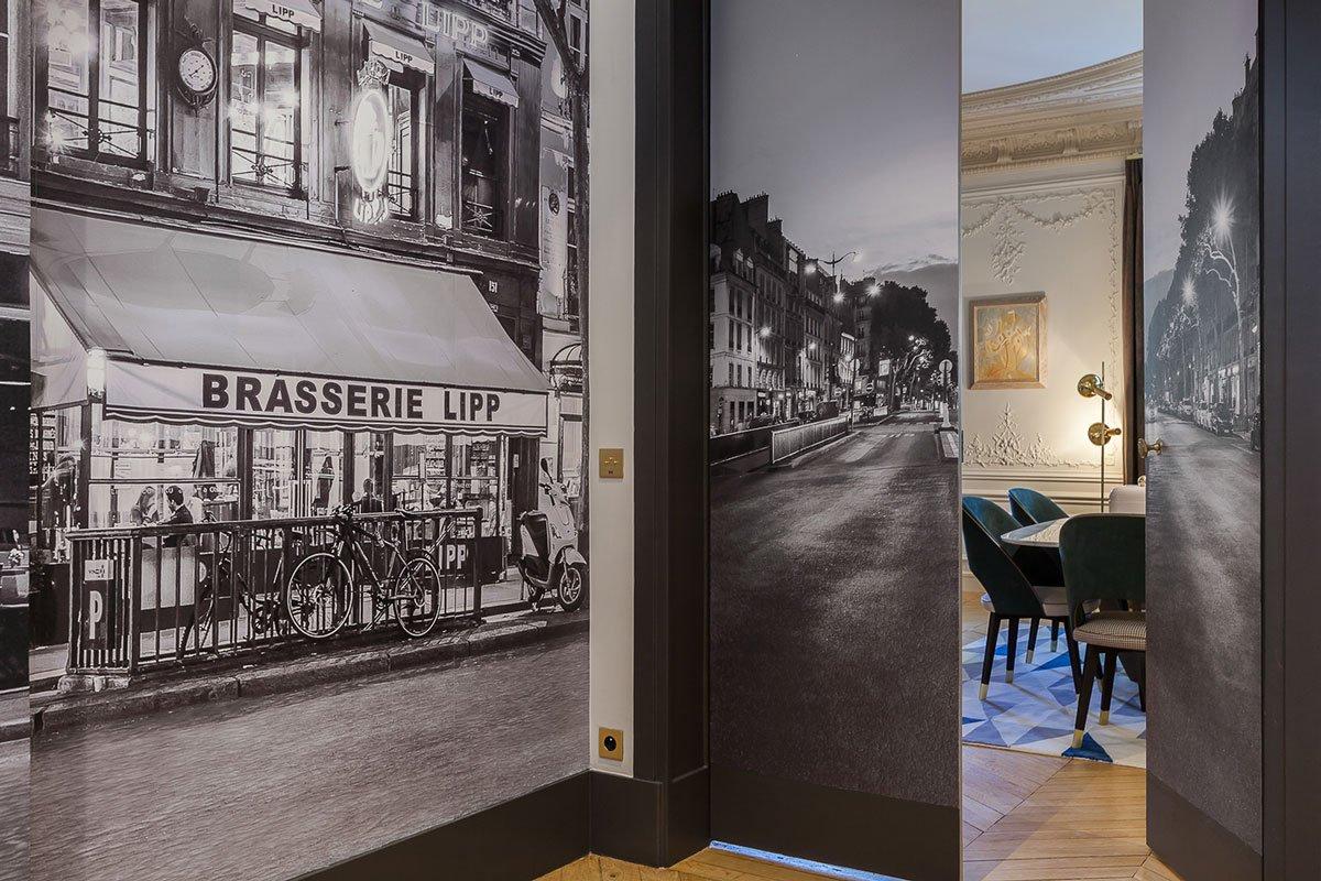 Saint Germain des Pres, фотообои в интерьере фото, интерьер старого частного дома фото, частный дом в Париже фото, потолочные фрески фото