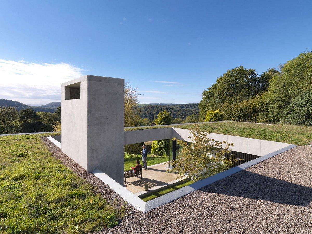 Крыша частного дома с травой