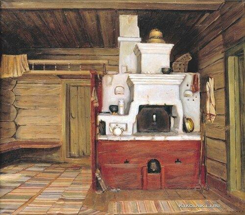 Волков Юрий Николаевич (Россия, 1952) «Интерьер с русской печью. Тарнога»  1981.jpg