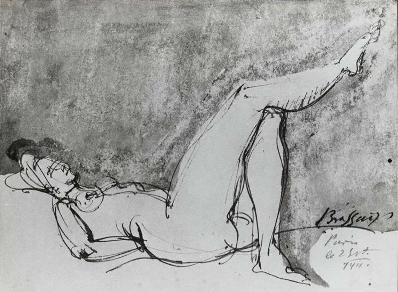 1941. Рисунок обнаженной женщины