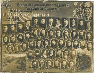 1938 г. Курсы Агрономов Виноградарей Ростовской Области.