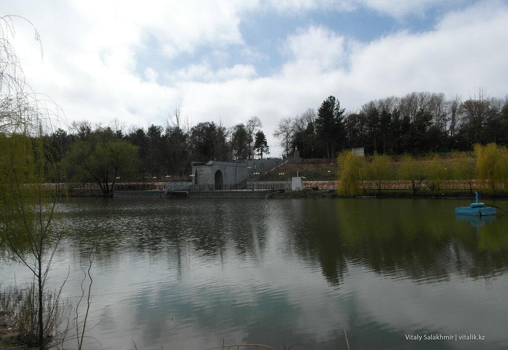 Берег озера в дендропарке Шымкента