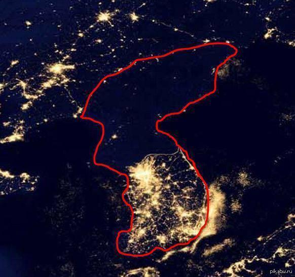 Фото ночной Кореи из космоса