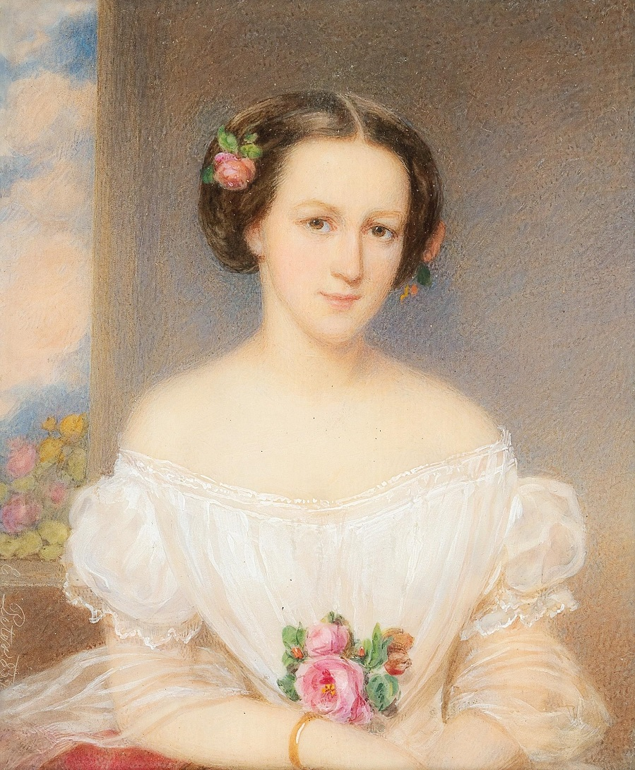 Emanuel Thomas Peter A portrait of a young women in a white dress, 1839
