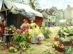 +++z9 Louis Marie de Schryver (French artist, 1862-1942) Buying Flowers at Market.jpg