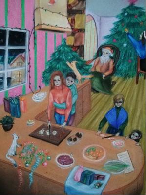 C:\Users\Любовь\Desktop\Лучшие работы моих учеников, 2018\Брагина Елизавета, 16 лет. Новогодние приготовления. Пастель, 420х297.jpg