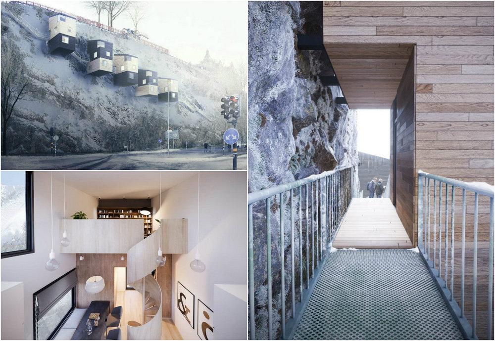Жилые дома на отвесных скалах