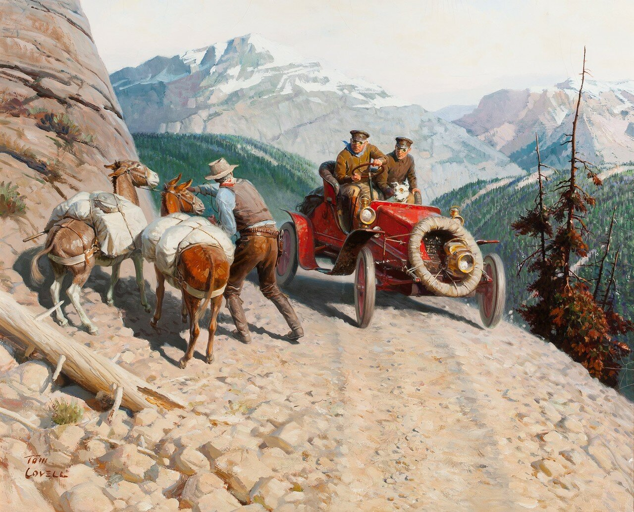 TOM LOVELL (American, 1909-1997). Dr. Jackson Blazes a Transcontinental Trail, Great Moments in Early American Motoring.jpg