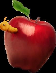 яблоки красные с червяком