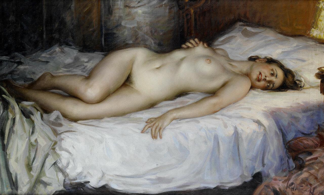 Картина Обнаженная Женщина На Кровати