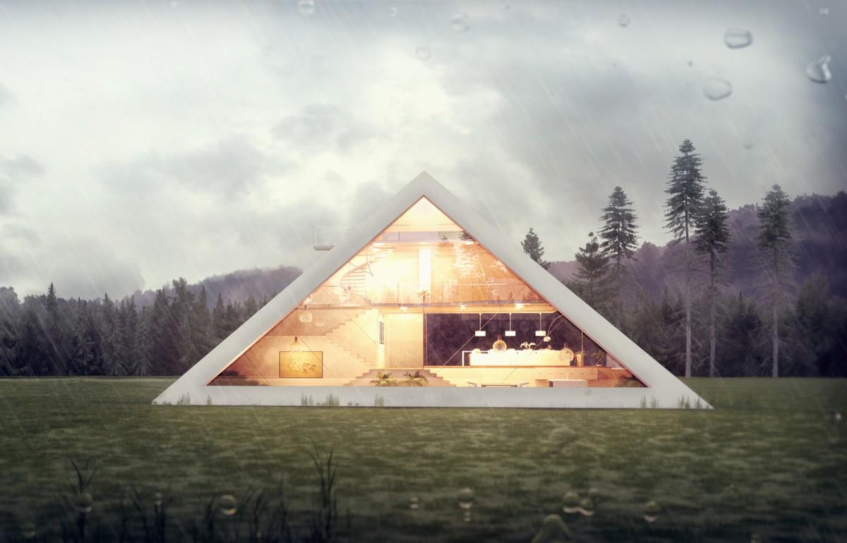 Почувствовать себя фараоном: футуристический концепт дома-пирамиды (5 фото)
