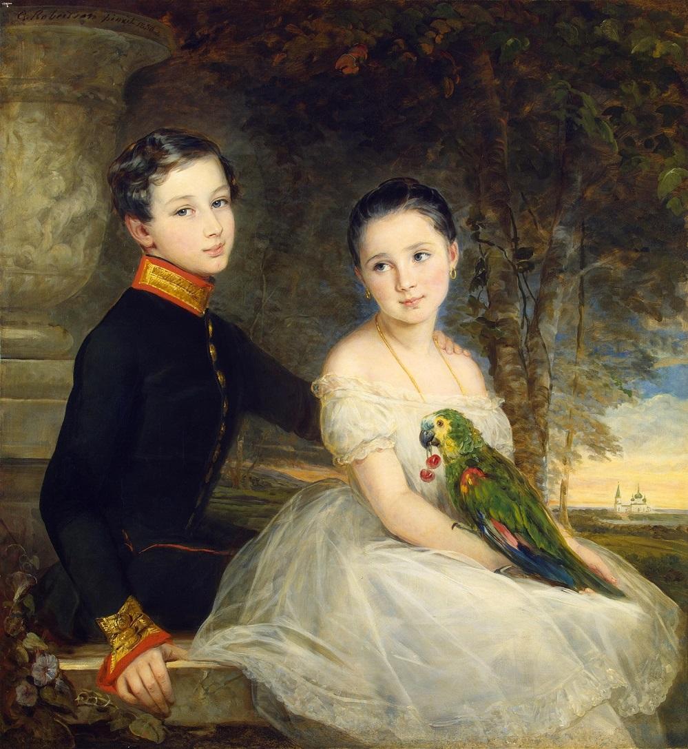 1850_Дети с попугаем  (Children with a Parrot) Санкт-Петербург, Эрмитаж.