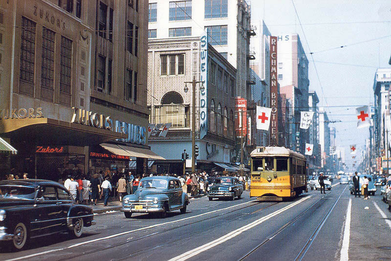 1956 Los Angeles Transit Lines car no. 1440 on Broadway.jpg