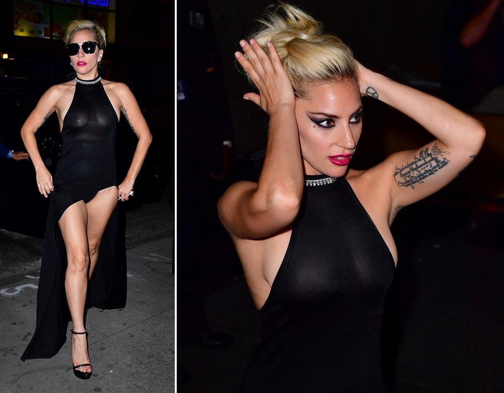 Леди Гага в просвечивающемся платье