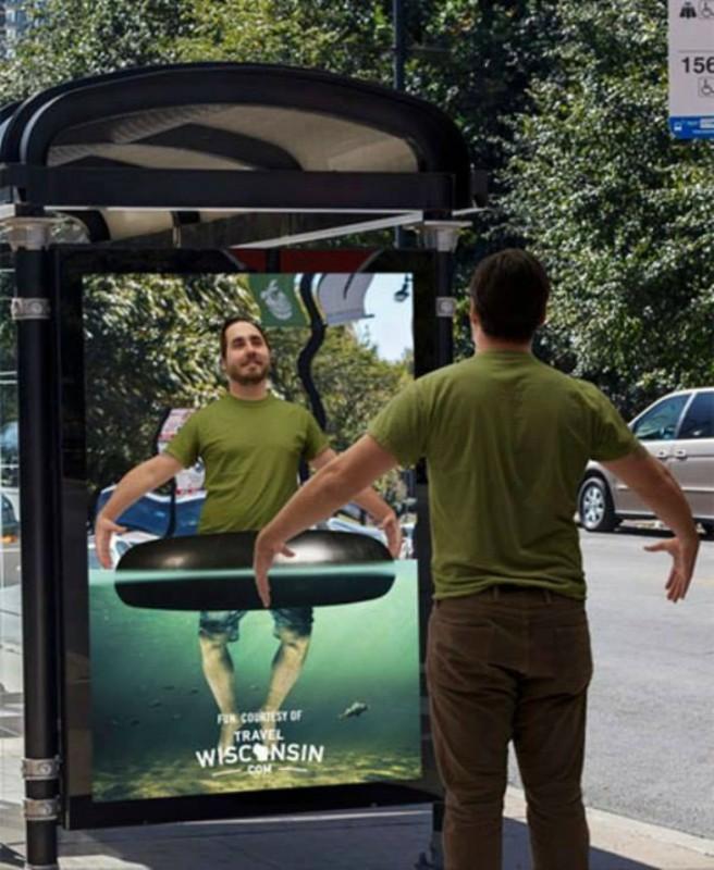 При помощи этой рекламной конструкции можно почувствовать себя немного в отпуске.