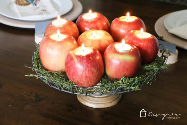 © Designer Trapped  Красные яблочки игреющие свечи— интересное инеобычное украшение для нов