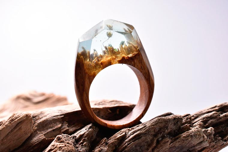 Secret Wood - Miniature universes inserted into beautiful wooden rings
