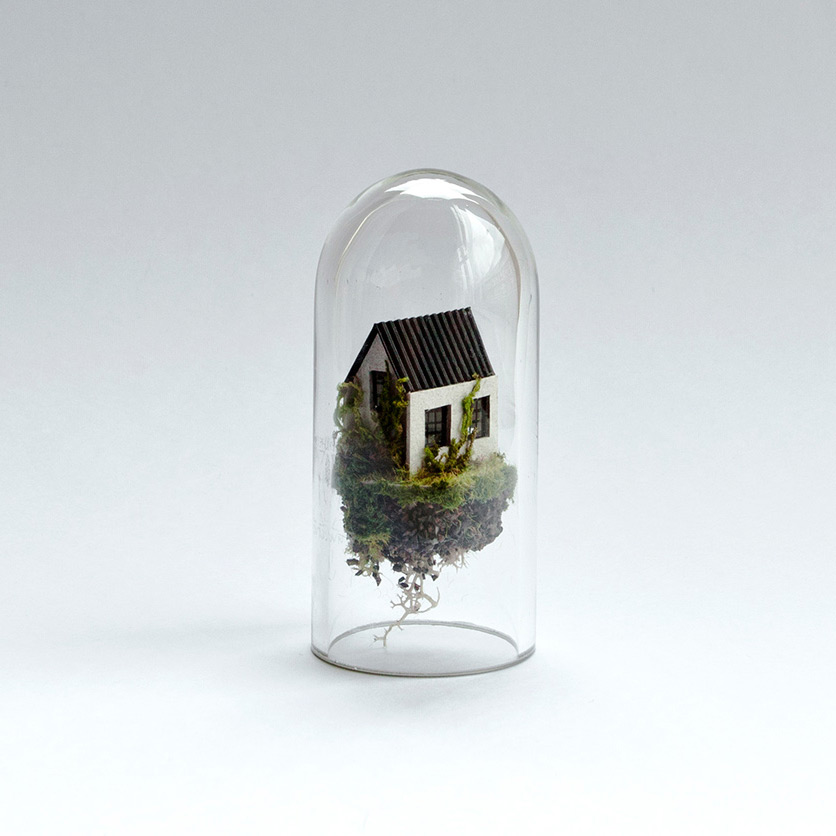 New Miniature Dwellings Suspended Inside Test Tubes by Rosa de Jong