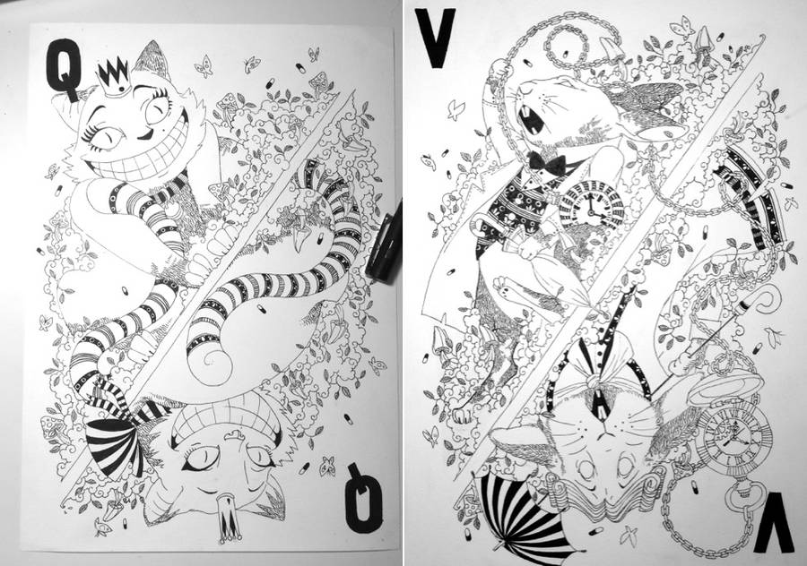 Beautiful Illustrated Card Deck Inspired by Alice in Wonderland