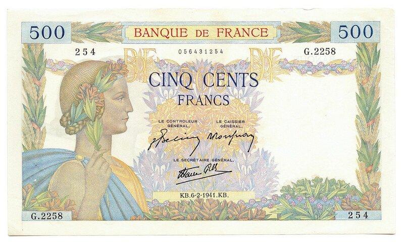 Франция, 500 франков, 1941