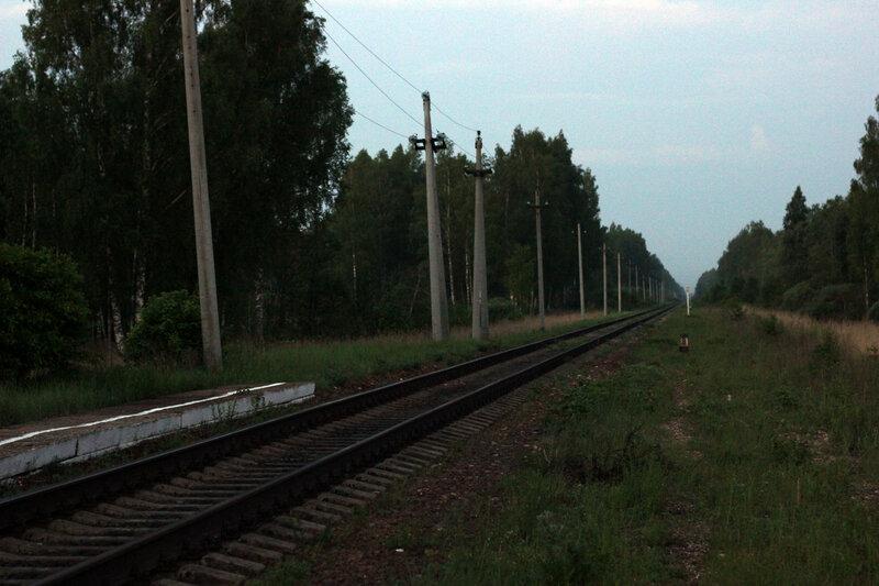 Закрытая станция Помельница, перегон Осуга - Сычёвка. Слева и справа видно место под боковые пути. Вид на Вязьму