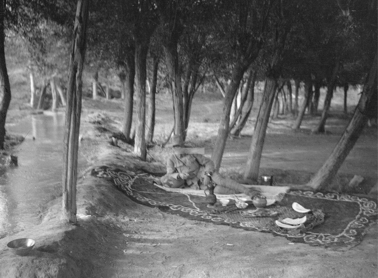 Маннергейм отдыхает на ковре под деревьями возле своего дома