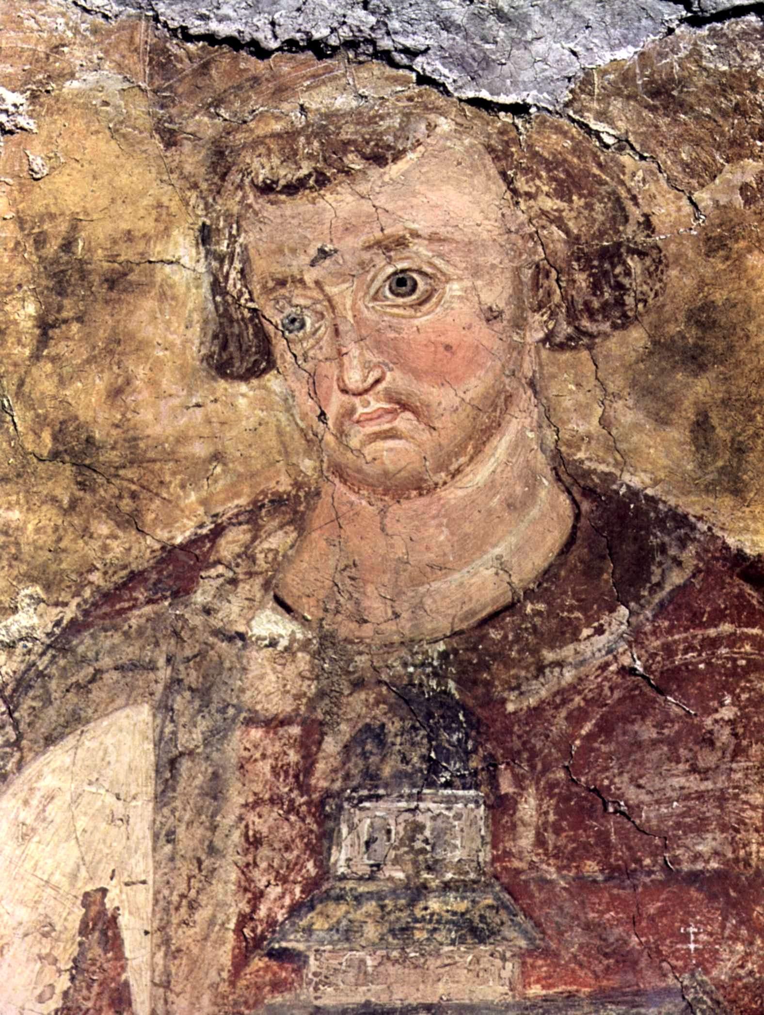 Святой Стефан Владислав, Король Сербский. Фреска монастыря Милешева (Милешево), Сербия. До 1228 года.
