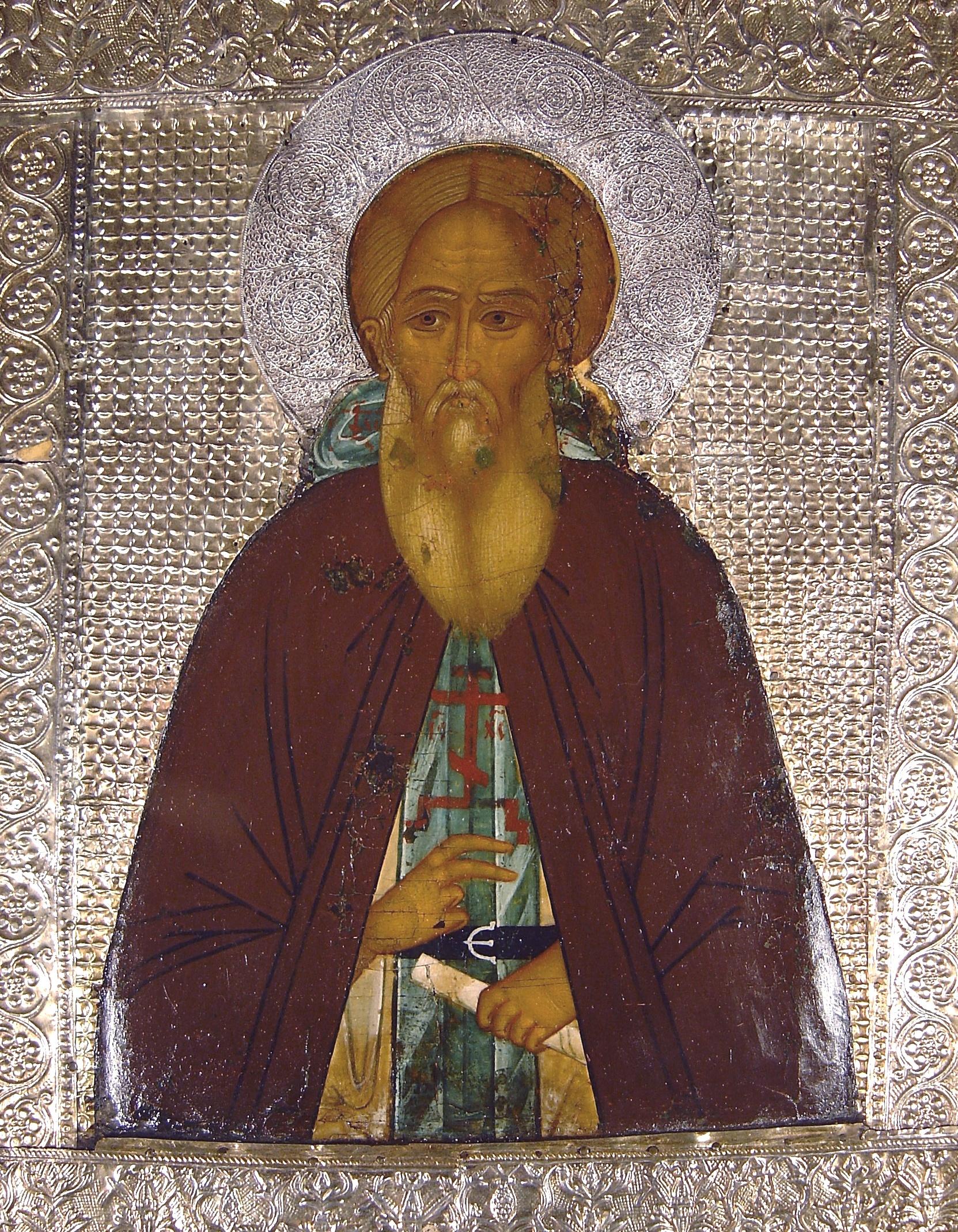 Святой Преподобный Сергий Радонежский. Икона XVI века.