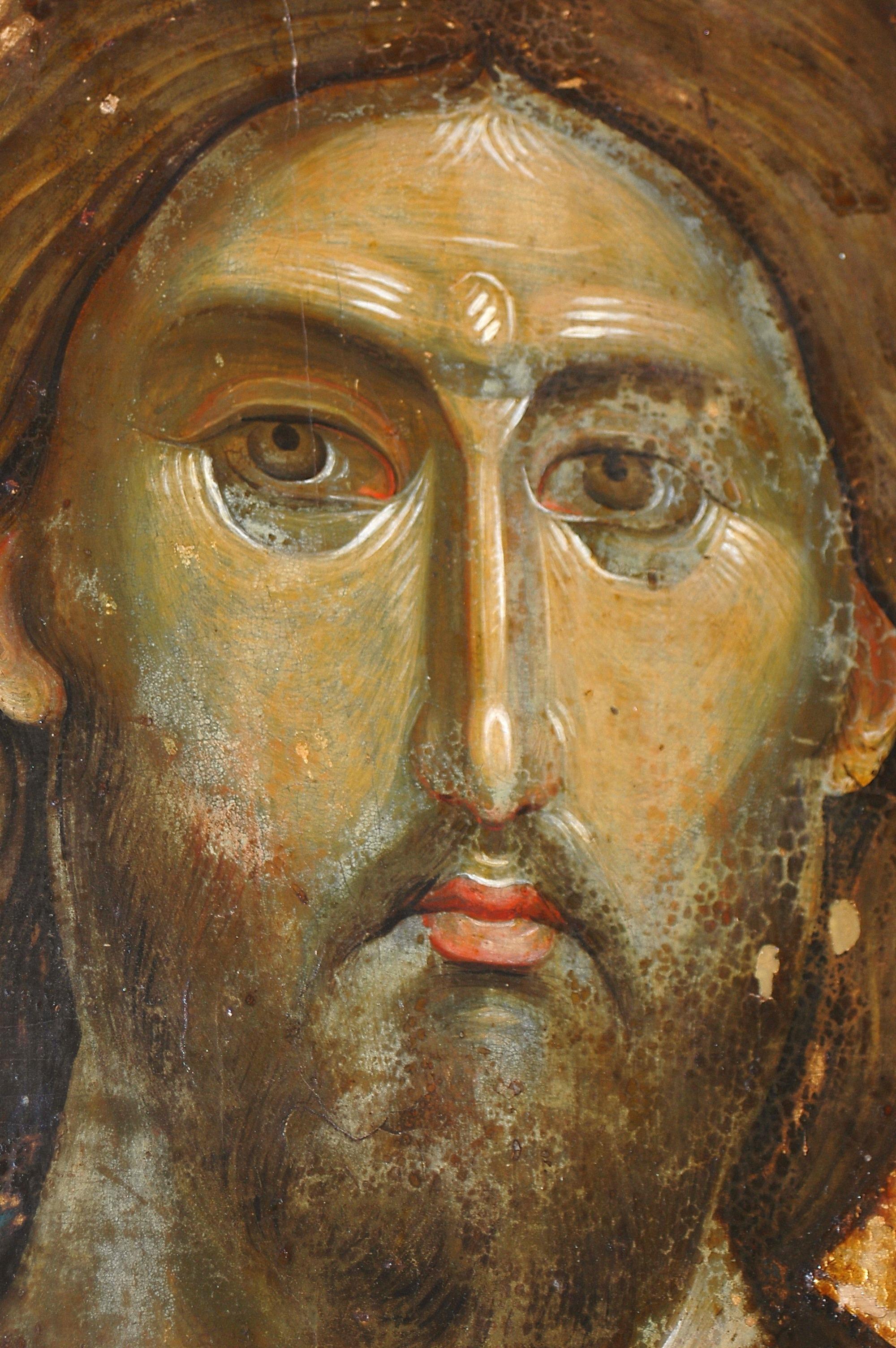 Христос Пантократор. Византийская икона в монастыре Хиландар на Святой Горе Афон. 1260-е годы. Фрагмент.