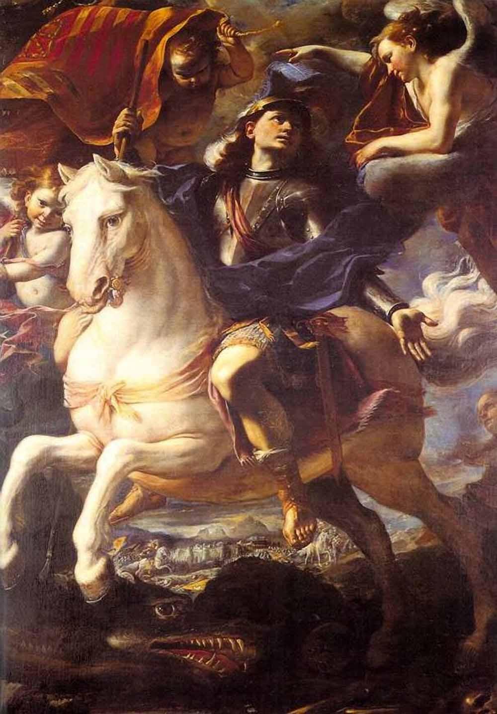 1658 Маттиа Прети . Святой Георгий на коне».  ок.1658. Холст, масло. Церковь Св. Иоанна, Валлетта..jpg