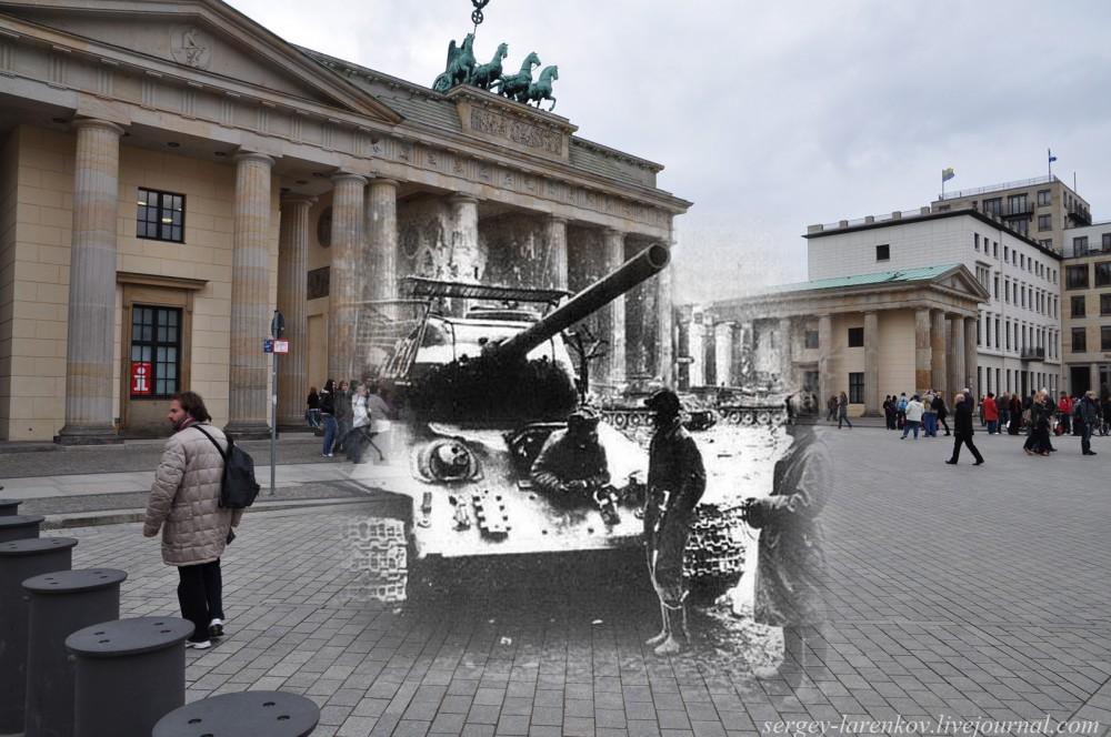 33 Берлин 1945-2010 Танк Т-34-85 на Паризер платц у нынешнего американского посольства..jpg
