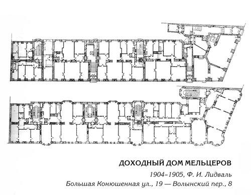 Доходный дом Мельцеров в Петербурге, поэтажные планы