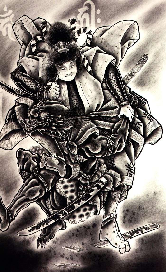 Злобные демоны на эскизах татуировок японского художника Horiyoshi (32)