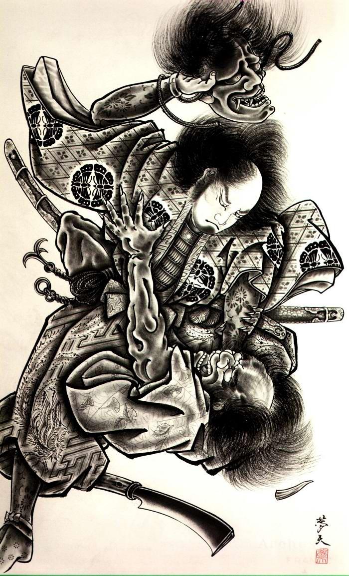 Злобные демоны на эскизах татуировок японского художника Horiyoshi (44)