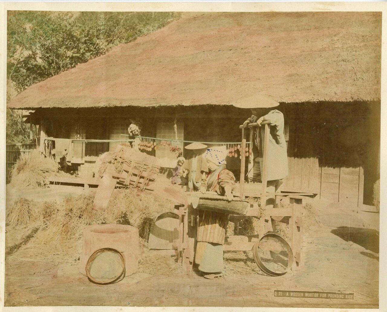 Деревянное приспособление для чистки риса