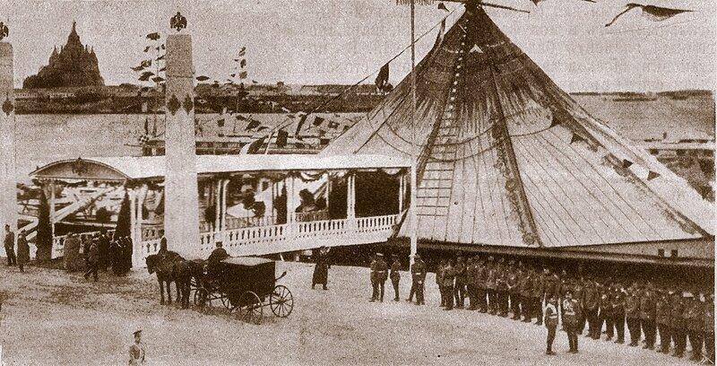 Празднование 300-летия Дома Романовых. Пристань в Нижнем Новгороде, на которой состоялся прием депутации императора Николая II.