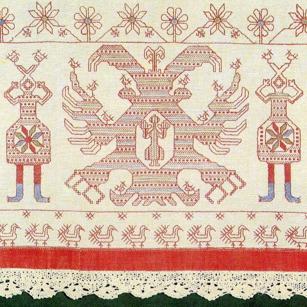 славянская вышивки гладью