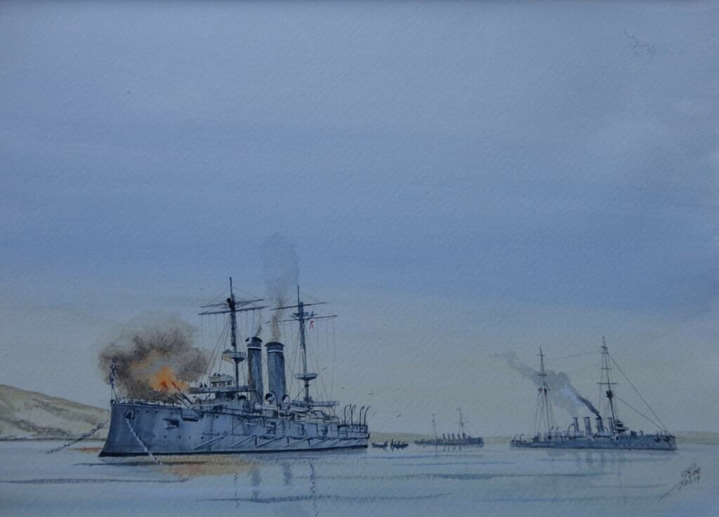 Opening shot in the first Battle of the Falkland Islands 8th Des 1914. HMS Canopus Fires her Forward turret over land, HMS Glasgow gets under way, while HMS Bristol in the distance.