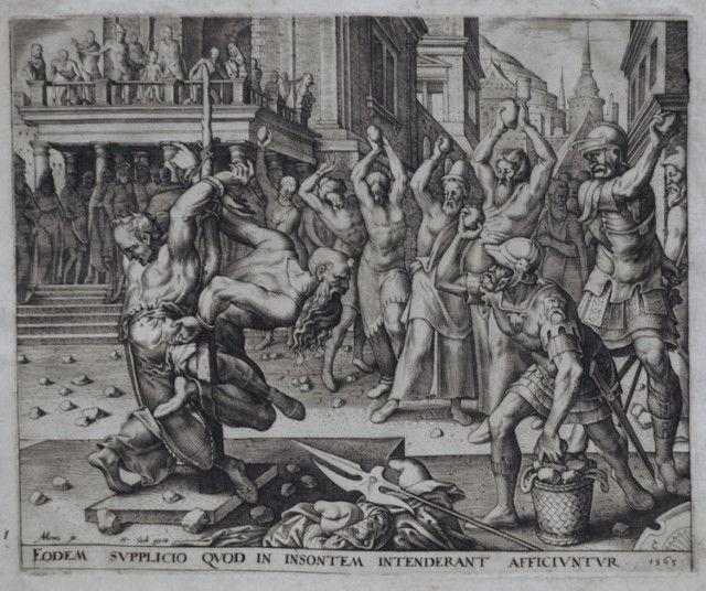 Забрасывание камнями старейшин. Филиппс Галле, гравюра, 1563